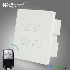 Remote 4 Gang Switch New Design Wallpad White Crystal Glass 4 Gang 2 Way 3 Way Wireless Remote Touch Screen Light Wall Switch