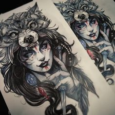 Resultado de imagem para indian girl with wolf headdress Tattoo Sketches, Tattoo Drawings, Body Art Tattoos, Sleeve Tattoos, Wolf Headdress, Headdress Tattoo, Backpiece Tattoo, Hawaiianisches Tattoo, Henna Tattoo Hand