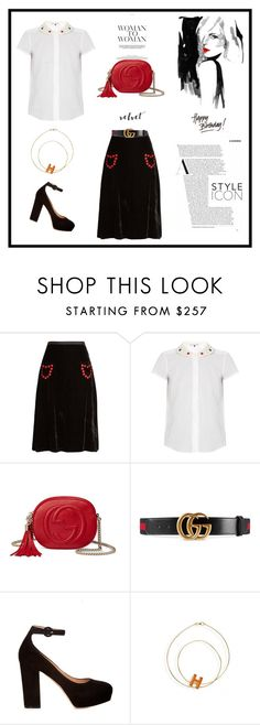"""""""Crushing It: Summer to Fall Velvet♥♥♥"""" by marthalux ❤ liked on Polyvore featuring Jupe By Jackie, Gucci, Gianvito Rossi and Hermès"""