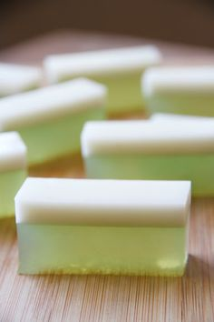 Coconut-Pandan Agar. Looks gorgeous. Could substitute vanilla for the pandanus leaf and essence but then the only way to get the lovely soft green would be to add food dye.