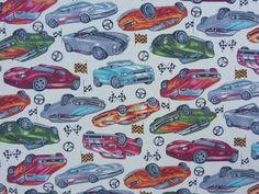 CP0233 Ivory Cotton F1 Racing Sports Cars Ferrari Dodge Viper Rose and Hubble boys Fabric - Per Metre