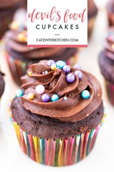 Kids can bake, too! Eden shares her experience baking and decorating these indulgently delightful Devil's Food Cupcakes from scratch! Layer Cake Recipes, Sheet Cake Recipes, Cupcake Recipes, Dessert Recipes, Great Desserts, Delicious Desserts, Yummy Food, Chocolate Desserts, Chocolate Cupcakes