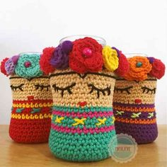 Crochet Bag Holder Free Water Bottles 57 Ideas For 2019 Crochet Cup Cozy, Crochet Home, Crochet Gifts, Cute Crochet, Crochet Baby, Crochet Amigurumi Free Patterns, Crochet Mittens, Crochet Jar Covers, Crochet Decoration
