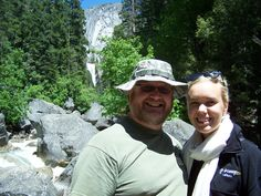 Robb & Suri with Vernal Falls in the background (from the bridge).  yeah, now i remember, Suri was from Sweden!   Yosemite Natn'l Park, CA