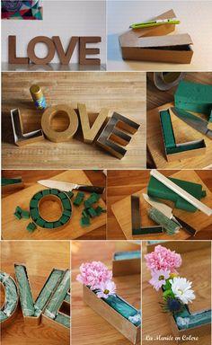 DIY letras de carton con flores