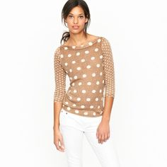 Love j. Crew. Linen dot popover.   CLOSE X  When it comes to polka dots, we're equal opportunists: big or little, we like them all. This breezy linen boatneck has a double dose of dots and a so-soft weave to boot. Three-quarter sleeves. Hits at hip. Import. Hand wash.