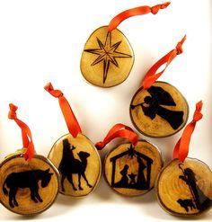 Nativity Scene Wood Burned Ornament Set Sycamore by LadyDryad