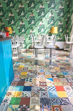 JOELIX.com | Colorful patterned tiles at Temakinho in Milan, Italy  This one's for you @Alex Fulton