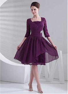 Graceful Chiffon V-neck Neckline A-line Cocktail Dress with Rhinestones
