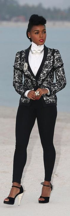 Chanel ~ Janelle Monea in Black + White Pant Suit