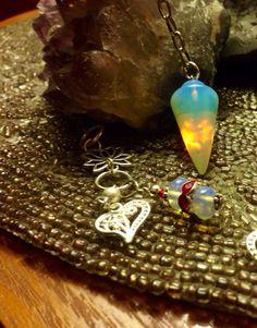 Opalite or Sea Opal Pendulums silver chain Charm Mystical  inspirational  Meditation  Mythical  Rainbow  Moonstone Charka Stone of Eternity on Etsy, $10.25