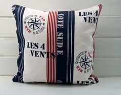 Nautical Throw Pillow Cushion Cover French Nautical Sailing Red Cream and Blue Fabric on Etsy, $28.34 AUD