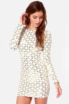 White Geometric Print Dress the Population Lola Long Sleeve Sequin Dress @ LuLus $195