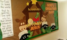 God's greatest gift- baby Jesus wrapped w/ bow Bible Bulletin Boards, December Bulletin Boards, Kindergarten Bulletin Boards, Christian Bulletin Boards, Halloween Bulletin Boards, Reading Bulletin Boards, Winter Bulletin Boards, Preschool Christmas, Christmas Crafts