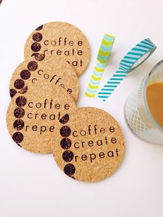 The new Coffee Create Repeat Coasters are a welcome reminder of what motivates some of us. Coasters are stamped with archival ink that is both permanent and waterproof. They will not run or fade and the ink is crisp and bold. Each set contains 6 hand stamped coasters.