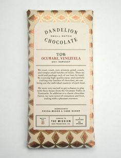 Dandelion Chocolate package love the metallic gold and simple sophistication that feel antique and modern at the same time