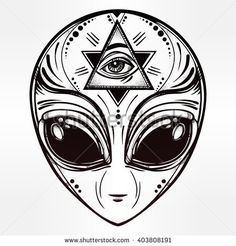 Alien face icon. Halloween, conspiracy theory, sci-fi, religion, spirituality, occultism, tattoo art. Iseolated vector illustration.                                                                                                                                                                                 More