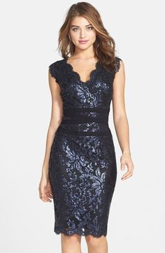 Free shipping and returns on Tadashi Shoji Embellished Metallic Lace Sheath Dress at Nordstrom.com. Luminous gold sequins and metallic threads highlight the embroidered lace blossoming atop a scalloped sheath. Tonal bands crisscrossing the waist accentuate a feminine silhouette.