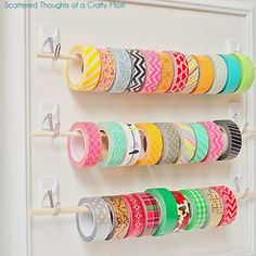 easy ribbon storage frame I love this duct tape organizer Ribbon Organization, Craft Organization, Organizing Ideas, Closet Organization, Craft Room Storage, Storage Ideas, Craft Rooms, Storage Solutions, Craft Ribbon Storage