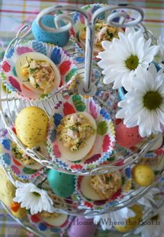 Lemon-Dill Chicken Salad Stuffed Eggs, fun & festive to serve in cupcake liners for a party-noshing or Easter buffet! Lemon Dill Chicken Salad can be made up to 3 days in advance. #Easter #egg