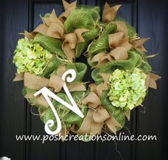 Spring Green Spring Wreath  Summer Mesh Wreath by poshcreationsKY, $89.99