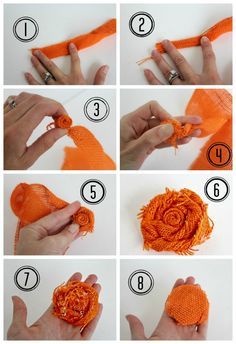 Easy fall DIY decor idea - How to make a burlap rosette.  View from the Fridge for OHMY-CREATIVE.COM