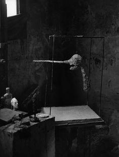 La tête de 1950 pend à l'intérieur d'une nouvelle version de la cage : un plateau en plâtre forme la partie basse de la cage. Le Nez II (version de 1949) Photo : Paul Facchetti,