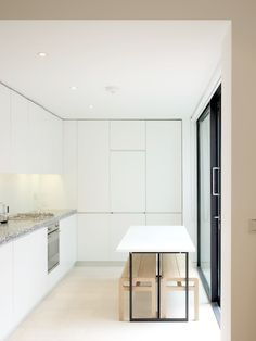 Ahmm Latitude Housing designed by Allford Hall Monaghan Morris Minimal Design, Kitchen Interior, Tile Floor, Minimalism, Real Estate, House Design, Pure Products, Architecture, Ideas