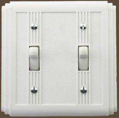 Art Deco 1920's style white bakelite double light switch on light oak finish patress backplate
