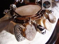 Caffe Latte - 10 Charm Bracelet – Shades of brown and cream – Italian dark brown leather and stainless clasp - Unique piece - $110.00 - See this on seaucollection.com
