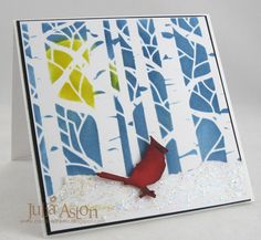 FS308 A Cardinal in the Aspen Wood by artystamper - Cards and Paper Crafts at Splitcoaststampers