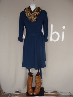CAbi Cozy Dress and Skin Print Scarf with brown tights, mottled brown socks and Jessica Simpson boots.