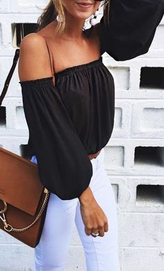 #summer #outfits / off the shoulder bishop sleeve top