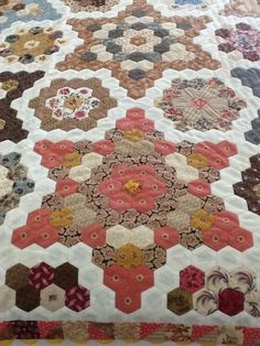 "Inspired by an antique quilt, made with 1"" hexagons."