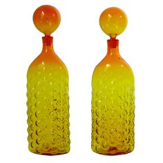 Blenko Bubble Glass Decanters with Stoppers