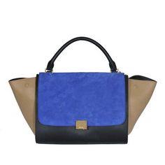 Celine Classic Leather Black Blue Apricot Bag outlet509