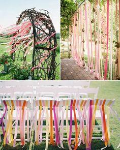 Streifen Tischdeko Inspiration Bunte Bänder für Hochzeit Outdoor