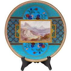 Fantastic Mintons China Hand Painted Cloisonne Style Plate by Christopher Dresser