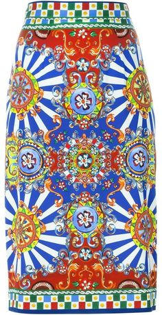 Dolce & Gabbana Carretto Siciliano print skirt Folk Fashion, Gianni Versace, Painting Patterns, Textile Patterns, Colorful Fashion, Sicily, Diy Clothes, Style Inspiration, My Style
