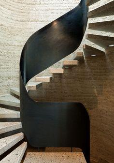 Rammed Earth Stairwell at Haus Rauch in Schlins, Voralberg, Austria by Architects Martin Rauch & Roger Boltshauser