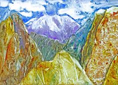 Watercolor on #Yupo, Rock Mountain, ©D.Yates2012