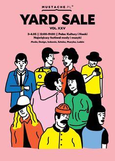 Mustache Yard Sale XXV / Poster design by Michal Loba Graphic Design Posters, Graphic Design Inspiration, Flat Design Poster, Flat Illustration, Graphic Design Illustration, Carnaval Kids, Book Design, Design Art, Sale Poster