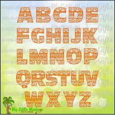 Aztec Alphabet Letters Digital Clipart & by MyLittleMonkeysGifts