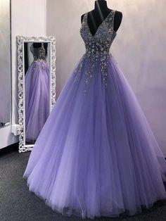 A Line V Neck Sequins Purple Tulle Long Prom Dresses, Lilac Beaded Long Formal Evening Praty Dresses Source by morievent prom dresses long Puffy Prom Dresses, Lilac Prom Dresses, Tulle Prom Dress, Pretty Prom Dresses, Quince Dresses, Lilac Dress, Formal Evening Dresses, Ball Gowns Prom, Dress Black
