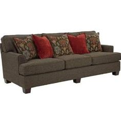 Check out the Broyhill 3670-3Q-8655-89-8679-85-7860-79-8679-85 Westport Sofa in Walnut with Woven Brown Fabric, Jacquard Brown Pillow and Plain Orange Pillow - 3670-3Q-8655-89-8679-85-7860-79-8679-85 priced at $841.50 at Homeclick.com.