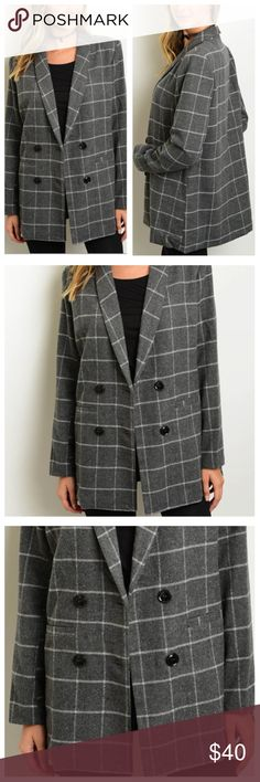 🌵HP🌵Gray Plaid Blazer 🔥Biggest Fashion Week Trend!🔥 Gray Plaid Blazer, double breasted style with black buttons, two front welt pockets, and structured shoulders with light shoulder pads. Super cute & popular street style, this is a classic you can pair with everything :) 100% Polyester. 🌵HP! BEST IN BOUTIQUES 10/25🌵 Nazz Couture Jackets & Coats Blazers