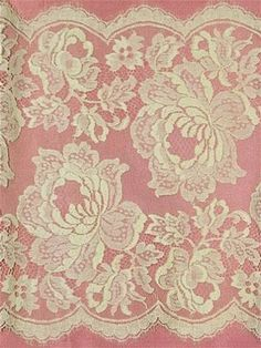 """Traditional French bridal lace trim fabric. 12"""""""" wide. Scallop edge on both sides. Gallon pattern. Can be separated. Please Note; Price is for 4.75 yard piece. Order 1 piece to receive 4.75 yard piece"""