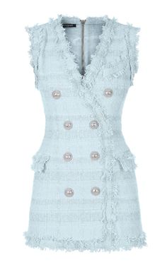 Balmain's sleeveless tweed mini dress is double-breasted with eight buttons at features pockets at the front. Pretty Dresses, Blue Dresses, Short Dresses, Dressy Outfits, Cute Outfits, Amazing Outfits, Balmain Clothing, Fade Styles, Office Looks