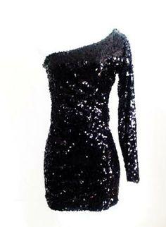 Midnight Black Asymmetrical One Sleeve Sequin Min,  Dress, Full Sleeve  party dress  sequin dress,