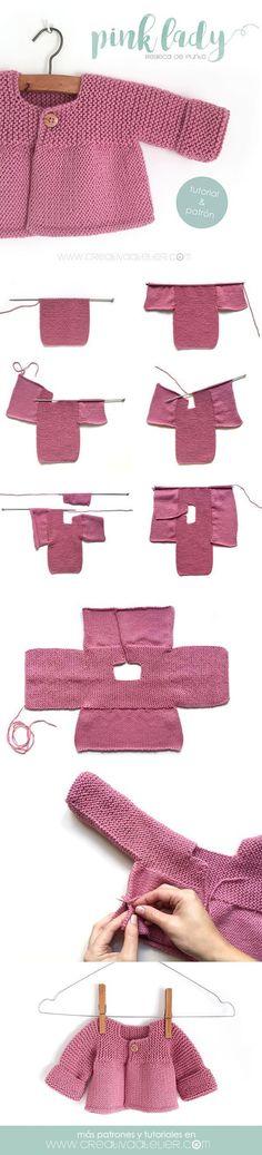 Aprende a Tejer una adorable Rebeca de Punto con este Tutorial paso a paso con p., Aprende a Tejer una adorable Rebeca de Punto con este Tutorial paso a paso con p. Baby Knitting Patterns, Knitting For Kids, Baby Patterns, Free Knitting, Knitting Projects, Crochet Patterns, Knitting Ideas, Pink Lady, Crochet Baby